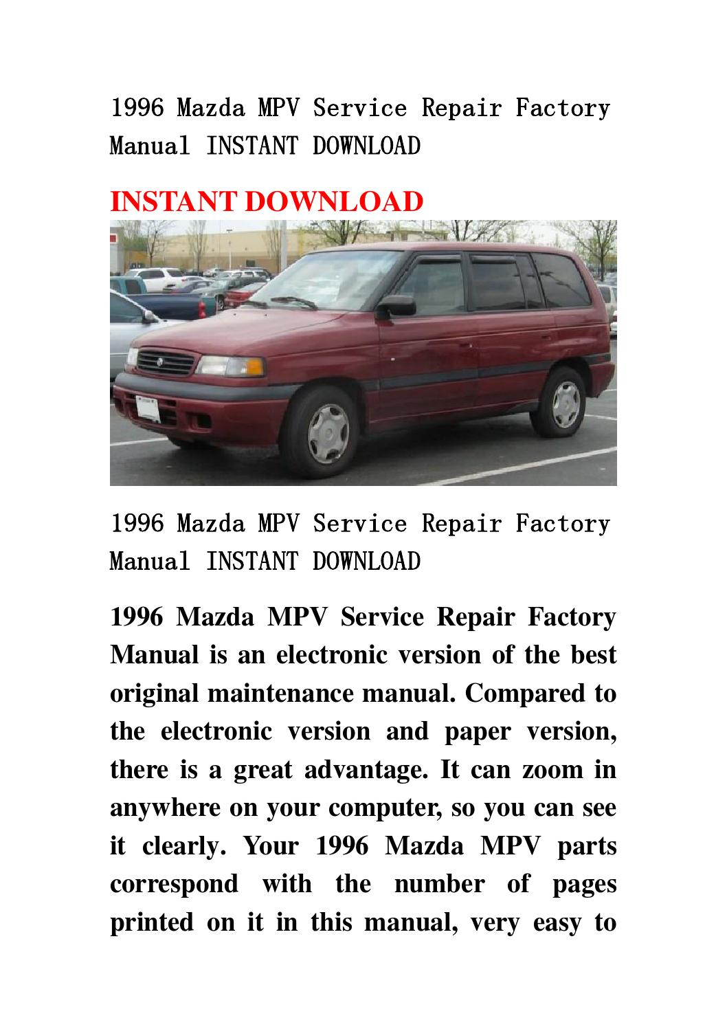 mazda premacy workshop manual download