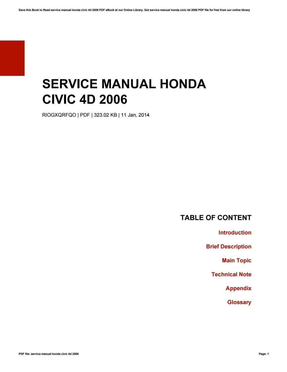 2006 honda accord service manual
