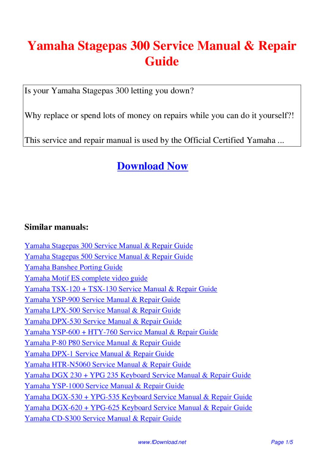 yamaha stagepas 500 service manual