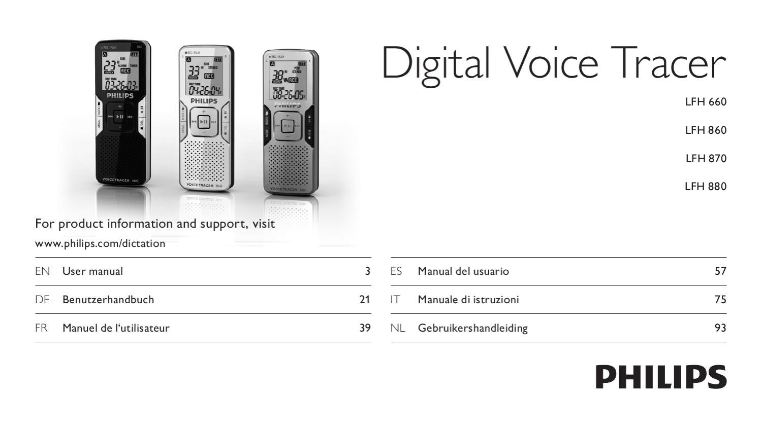 philips voice tracer dvt2500 user manual