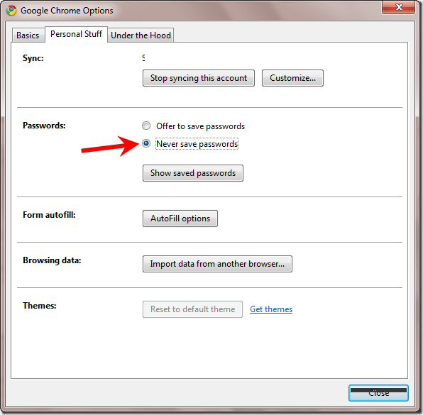 how to save password in chrome manually